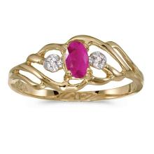 Certified 10k Yellow Gold Oval Ruby And Diamond Ring 0.19 CTW #51036v3