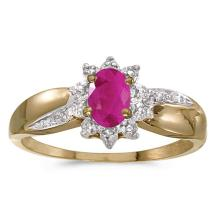 Certified 10k Yellow Gold Oval Ruby And Diamond Ring 0.37 CTW #50989v3