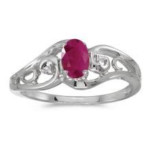 Certified 14k White Gold Oval Ruby And Diamond Ring 0.37 CTW #51150v3