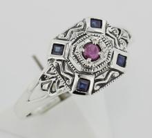 Sapphire / Ruby Filigree Ring - Deco Style - Sterling Silver #PAPPS98351