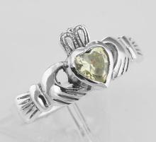 Irish Claddagh Ring Light Green Peridot CZ - Sterling Silver #PAPPS98248