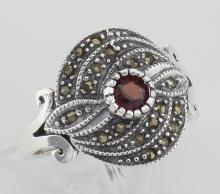 Antique Style Round Red Garnet and Marcasite Ring - Sterling Silver #PAPPS98237