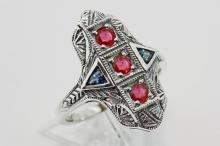 Art Deco Ring Rubies and Sapphires - Sterling Silver #PAPPS98325