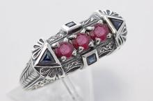Sterling Silver Filigree Ring w/ Sapphires & Rubies #PAPPS98324