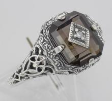Antique Victorian Style Smokey Topaz Filigree Diamond Ring Sterling Silver #PAPPS98420