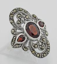 Garnet and Marcasite Ring - Sterling Silver #PAPPS98236