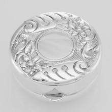 Sterling Silver Floral Engravable Pillbox - Made in USA #PAPPS98265