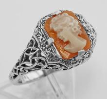 Hand Carved Italian Shell Cameo Filigree Ring - Sterling Silver #PAPPS98333