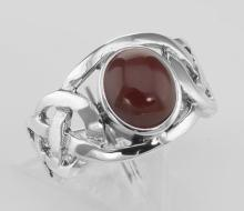 Unique Cab Cut Red Carnelian Celtic Knot Ring - Sterling Silver #PAPPS98313