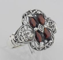 Antique Style Four Stone Garnet / Diamond Filigree Ring - Sterling Silver #PAPPS98234
