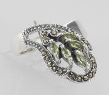 Antique Style Genuine Peridot Ring Marcasite Accents - Sterling Silver #PAPPS98242