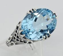 8.9 Carat Geniune Blue Topaz Filigree Ring - Sterling Silver #PAPPS98368