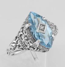 Sterling Silver Blue Topaz Filigree Ring w/ Diamond #PAPPS98254