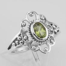 Antique Style Genuine Peridot Ring - Sterling Silver #PAPPS98312