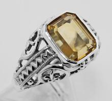 Citrine Filigree Ring - Sterling Silver #PAPPS98238