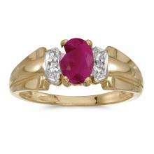 Certified 14k Yellow Gold Oval Ruby And Diamond Ring 0.74 CTW #PAPPS25484