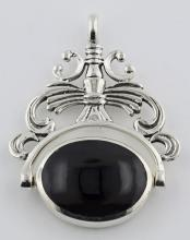 2 Stone Spinning Fob Pendant - Antique Style - Sterling Silver #PAPPS97294