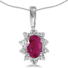 Certified 14k White Gold Oval Ruby And Diamond Pendant 0.37 CTW #PAPPS25134