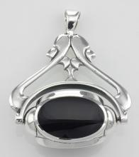 Antique Style 3 Stone Spinning Fob Pendant - Sterling Silver #PAPPS97305