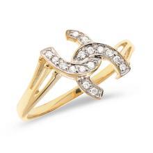 Certified 14K Yellow Gold Diamond Horseshoe Ring 0.1 CTW #PAPPS50845