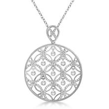 Drilled Set Diamond Circle Pendant Necklace 14k White Gold (1.25ct) #PAPPS20791