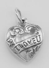 I Love U Heart Charm - Sterling Silver #PAPPS97351