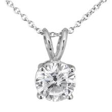 1.00ct. Round Diamond Solitaire Pendant in 18k White Gold (H, VS2) #PAPPS20424