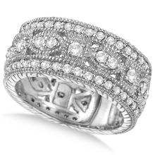 Vintage Style Byzantine Wide Band Diamond Ring 14k White Gold (1.37ct) #PAPPS20387