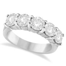 Five Stone Diamond Ring Anniversary Band 14k White Gold (3.00ctw) #PAPPS20604