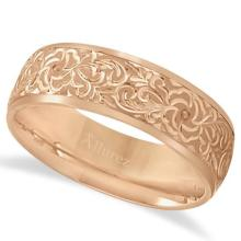 Hand-Engraved Flower Wedding Ring Wide Band 14k Rose Gold (7mm) #PAPPS21206