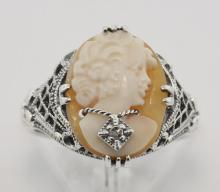 Hand Carved Italian Cameo w/ Diamond Necklace Ring - Sterling Silver #PAPPS97451