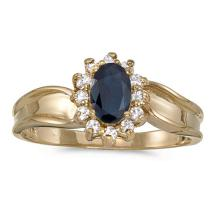 Certified 14k Yellow Gold Oval Sapphire And Diamond Ring 0.53 CTW #PAPPS50937