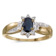 Certified 14k Yellow Gold Oval Sapphire And Diamond Ring 0.4 CTW #PAPPS50916