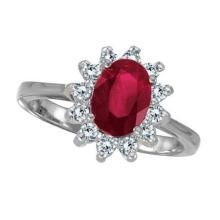 Lady Diana Oval Ruby and Diamond Ring 14k White Gold (1.50 ctw) #PAPPS20644