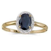 Certified 14k Yellow Gold Oval Sapphire And Diamond Ring 0.82 CTW #PAPPS51001