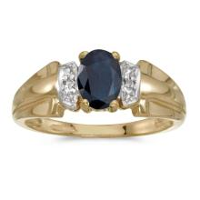 Certified 10k Yellow Gold Oval Sapphire And Diamond Ring 0.81 CTW #PAPPS25611