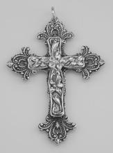 Large Antique Style Floral Cross Pendant Double Sided Sterling Silver #PAPPS97769