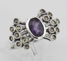 Antique Style Genuine Amethyst and Marcasite Ring - Sterling Silver #PAPPS97783