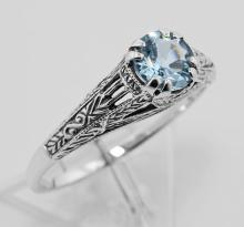 Antique Style Genuine Blue Topaz Filigree Ring Sterling Silver #PAPPS97750