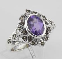 Lovely 1 Carat Genuine Amethyst and Marcasite Ring - Sterling Silver #PAPPS97787