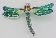 French Style Plique a Jour Multi-Color Enamel Dragonfly Pin - Sterling Silver #PAPPS97736