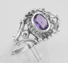 Antique Style Genuine Amethyst Gemstone Ring - Sterling Silver #PAPPS97784