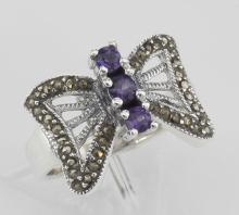 Beautiful Butterfly Design Amethyst and Marcasite Ring Sterling Silver #PAPPS97801