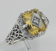 Antique Victorian Style Golden Citrine Filigree Diamond Ring Sterling Silver #PAPPS97755
