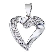 Certified 14K White Gold Diamond Heart Pendant 0.07 CTW #PAPPS25159