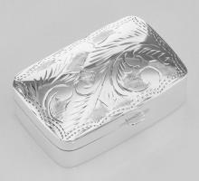 Sterling Silver Pillbox with Etched Design #PAPPS97903