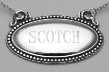 Scotch Liquor Decanter Label / Tag - Oval beaded Border - Made in USA #PAPPS98153