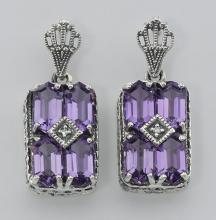Art Deco Style Amethyst w/ Diamond Earrings - Sterling Silver #PAPPS98195