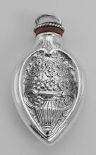 Art Nouveau Style Chatelaine Floral Perfume Pendant / Bottle - Sterling Silver #PAPPS97833