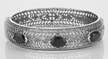 Art Deco Style Filigree Bangle Bracelet Black Oynx Sterling Silver #PAPPS98047